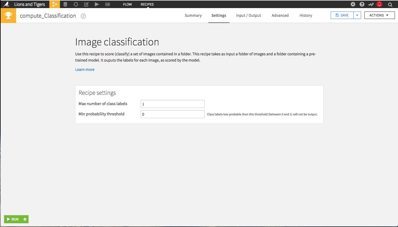 Image classification settings