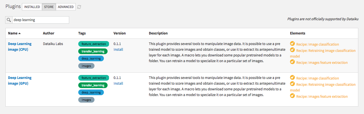 Installing the deep learning for images plugin from the store