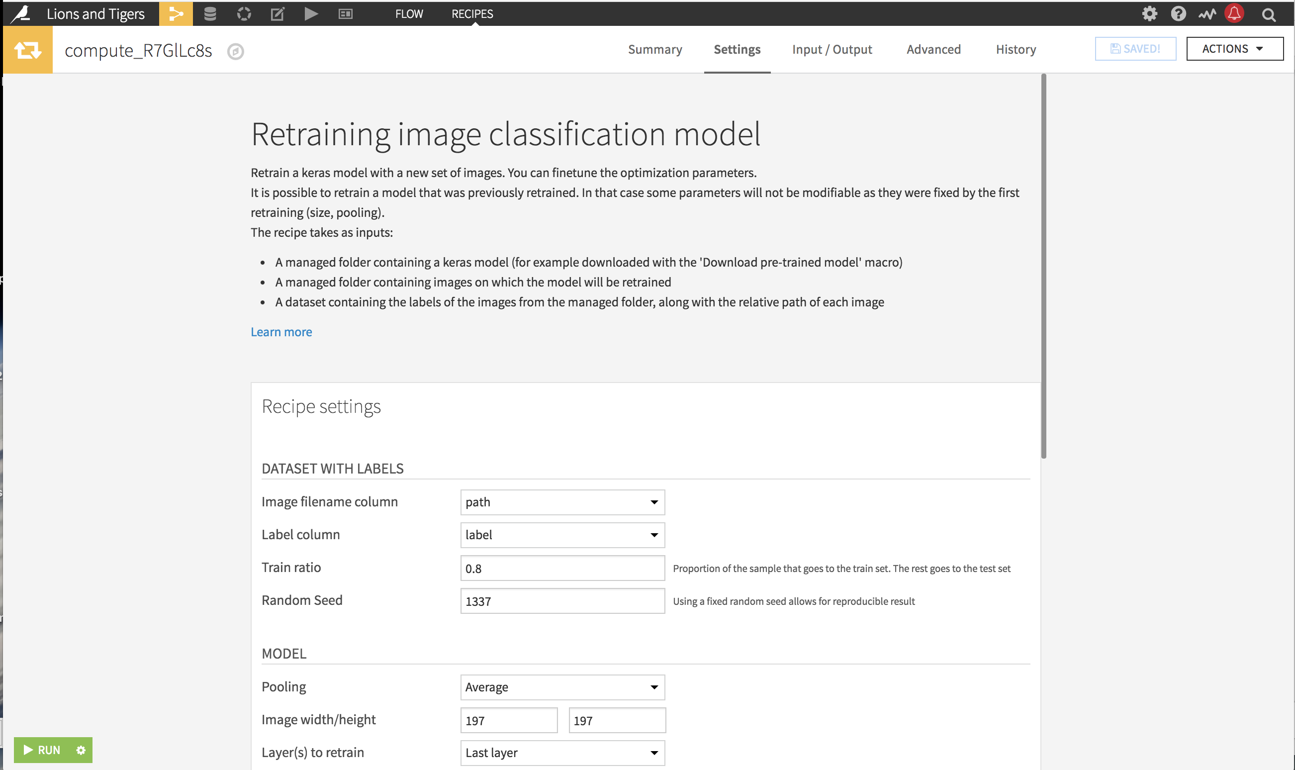 Retraining image classification settings