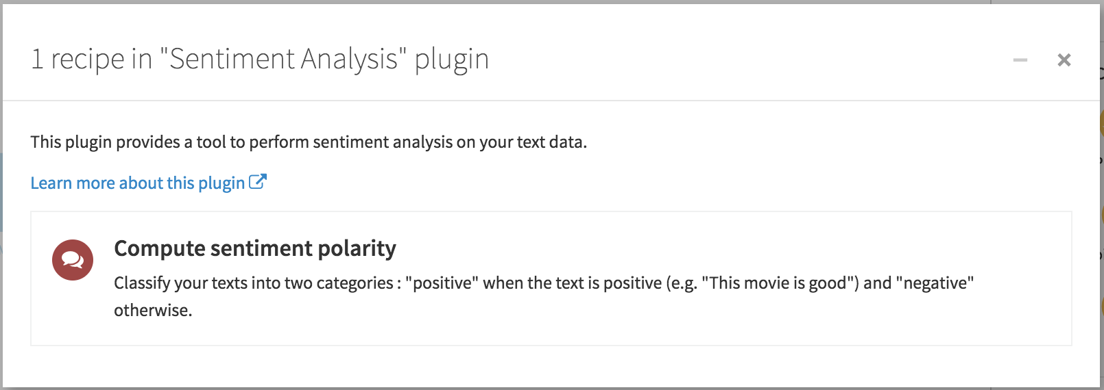 Sentiment analysis plugin dialog