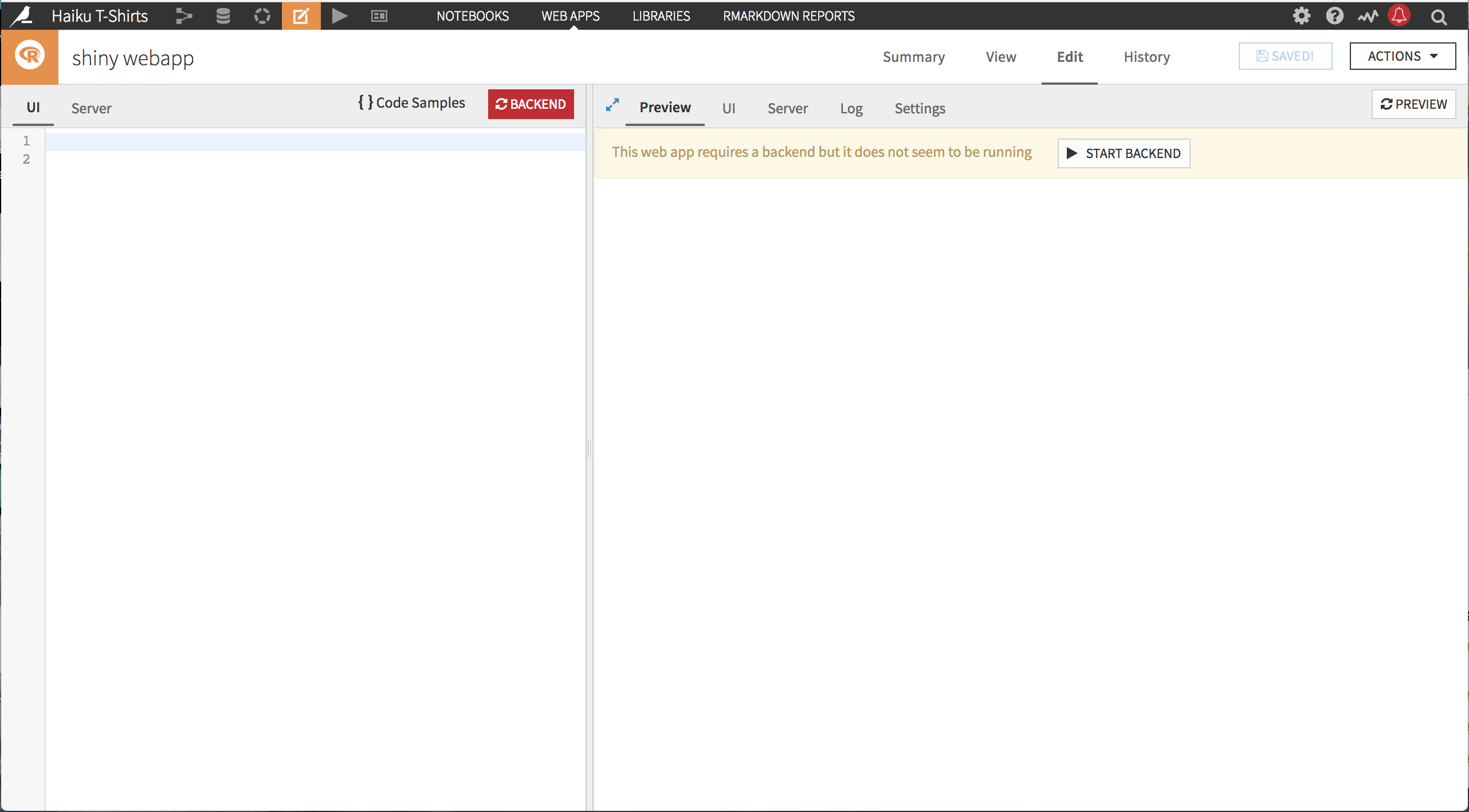 Shiny web app editor; empty