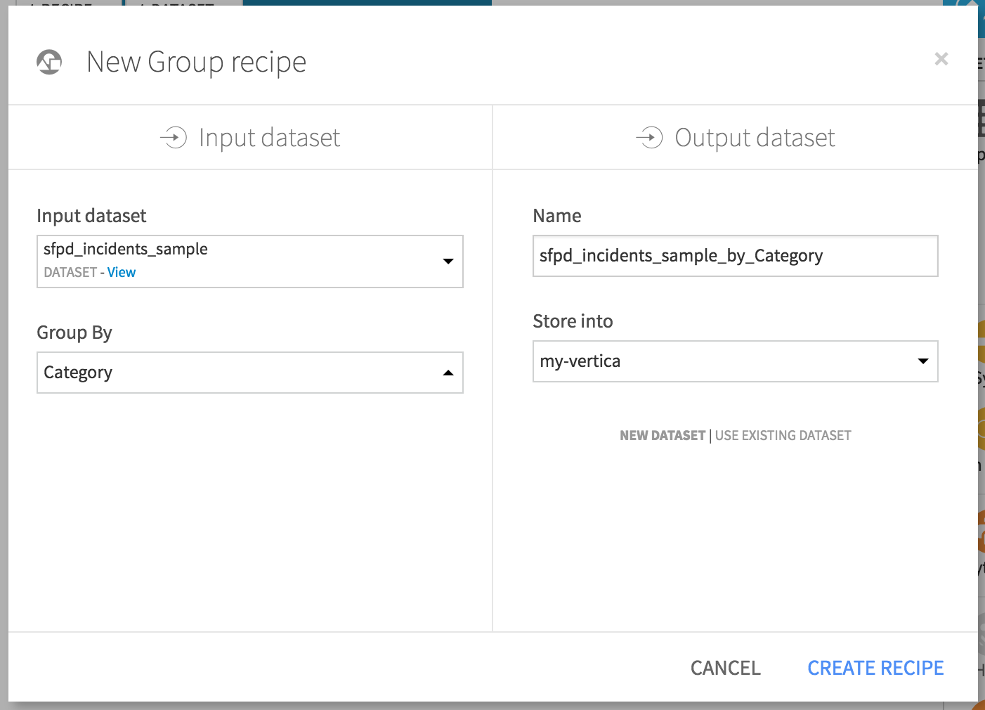 Setting input and output datasets for new Group recipe