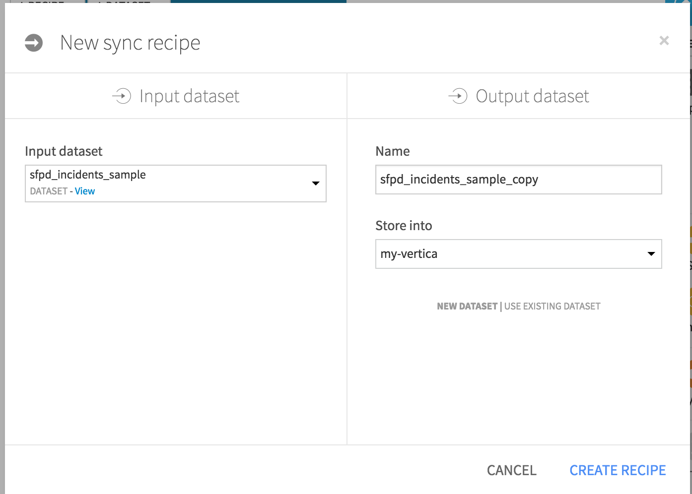 Setting input and output for new Sync recipe