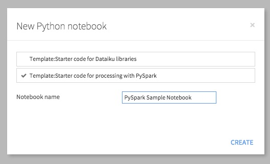 Creating a new Python notebook from starter PySpark code