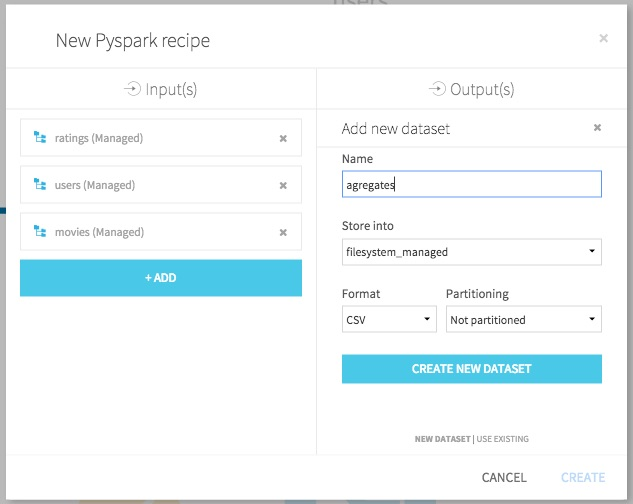 PySpark recipe; selecting output dataset