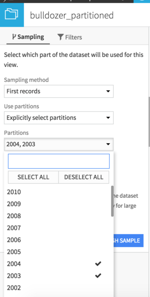 Selecting desired partitions in the Sampling pane
