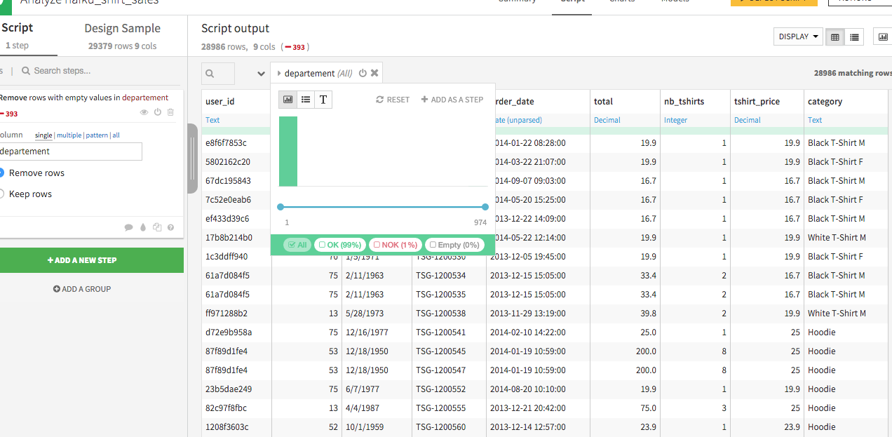 Screenshot of the analyze window with filtering opened