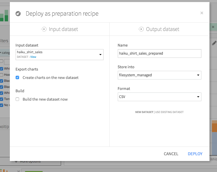 Screenshot of the deploy as preparation recipe window