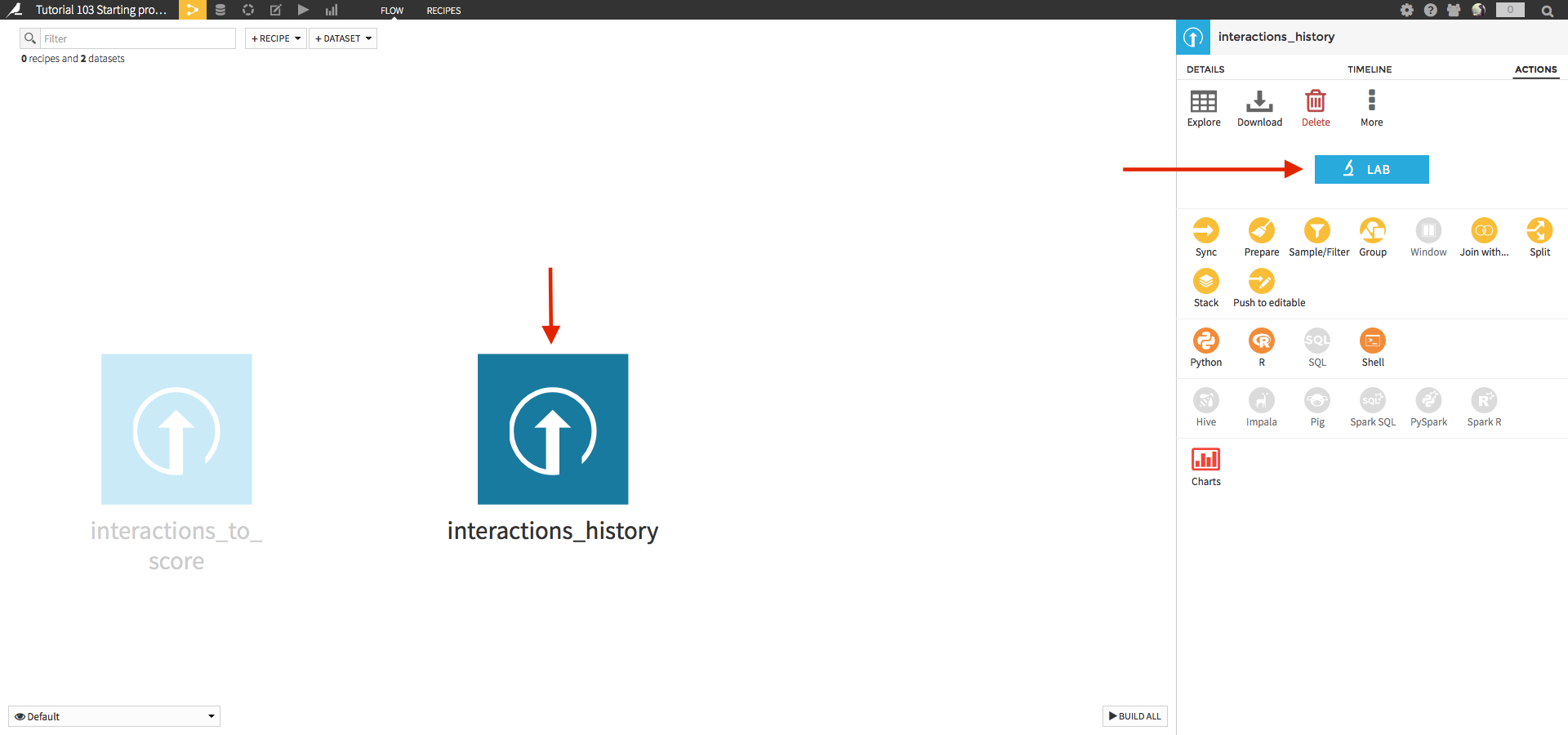 Flow with interactions_history dataset and Lab button highlighted
