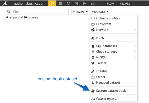 Creating a new dataset using the Custom dataset book entry provided by the Gutenberg plugin