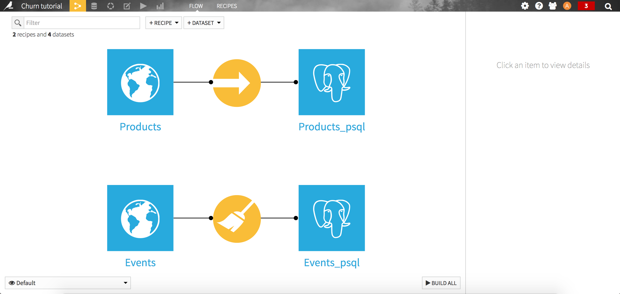 Screenshot of the DSS project flow