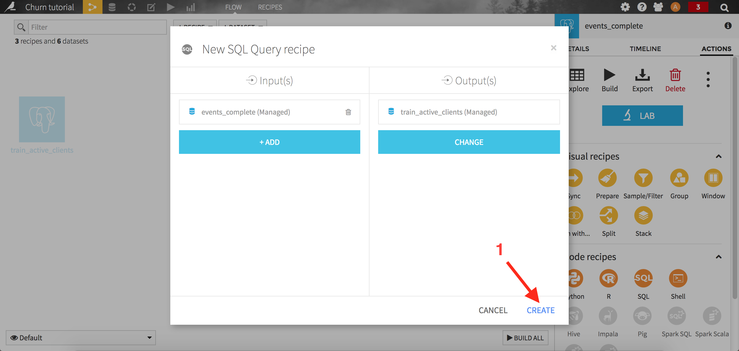 Screenshot of pop up: New SQL Query recipe with arrow on create