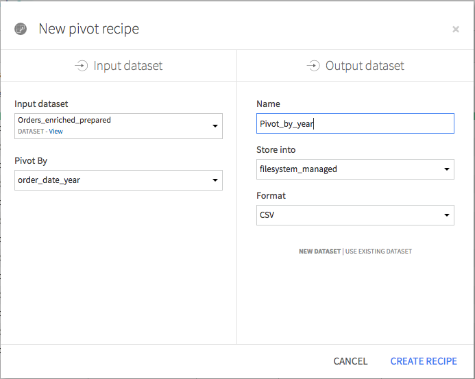 Pivot recipe creation screen with the settings specified in the text.