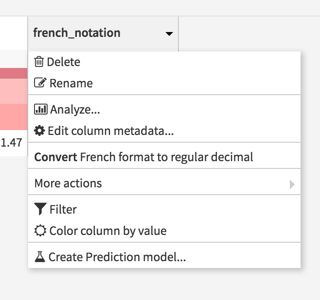 Context menu to convert French format to regular decimal format