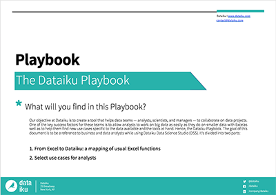 Dataiku Playbook cover: 1. From Excel to Dataiku: a mapping of usual Excel functions, 2. Select use cases for analysts.