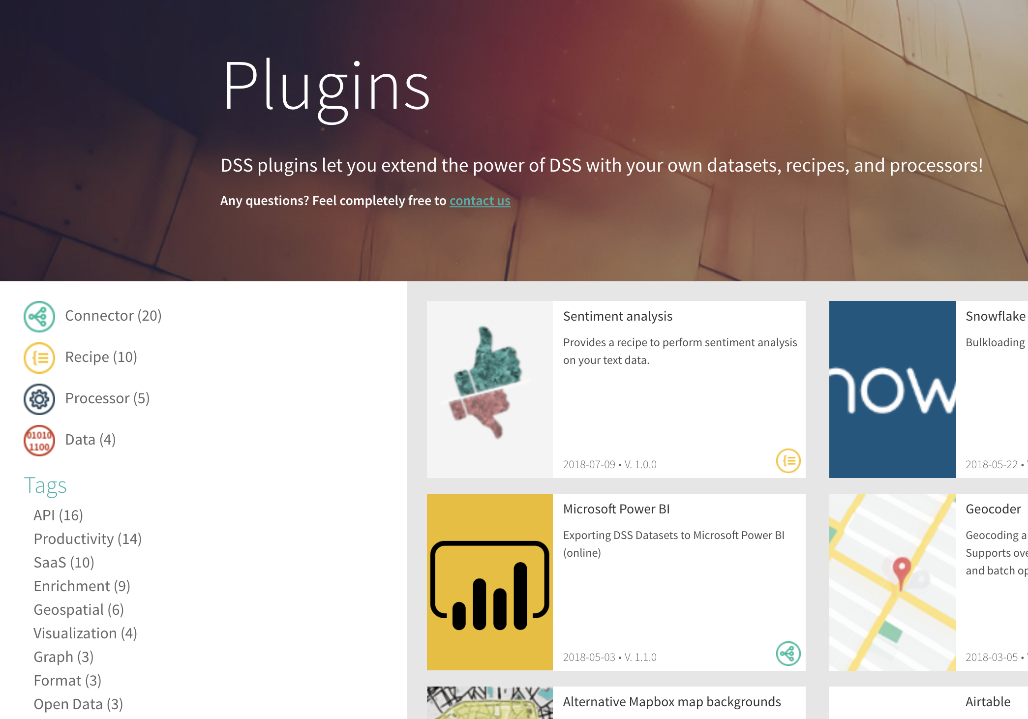 Website screenshot: DSS plugins let you extend the power of DSS