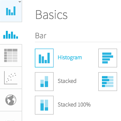 Product screenshots showing built-in chart formats