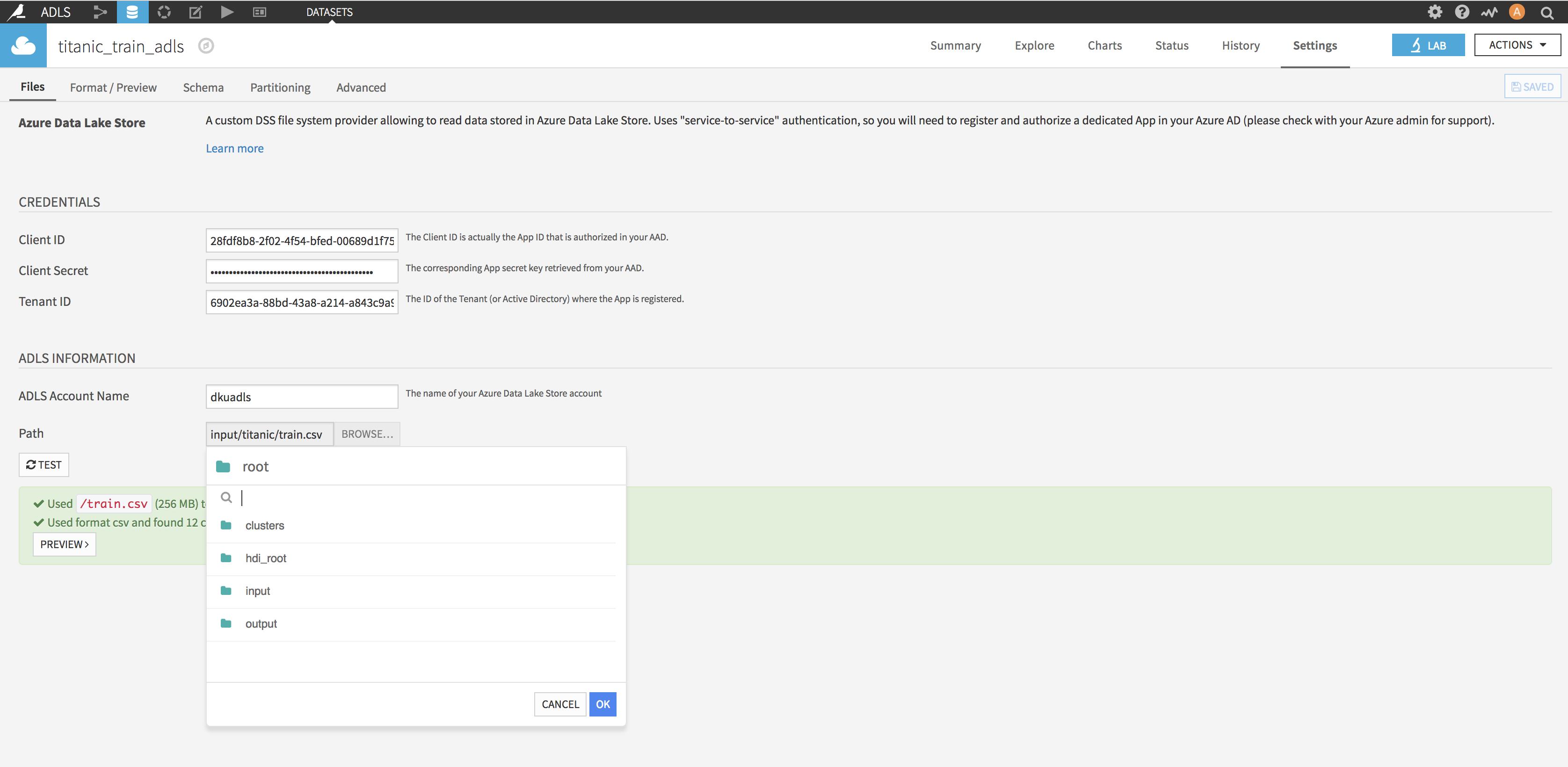 Configure your ADLS Dataset