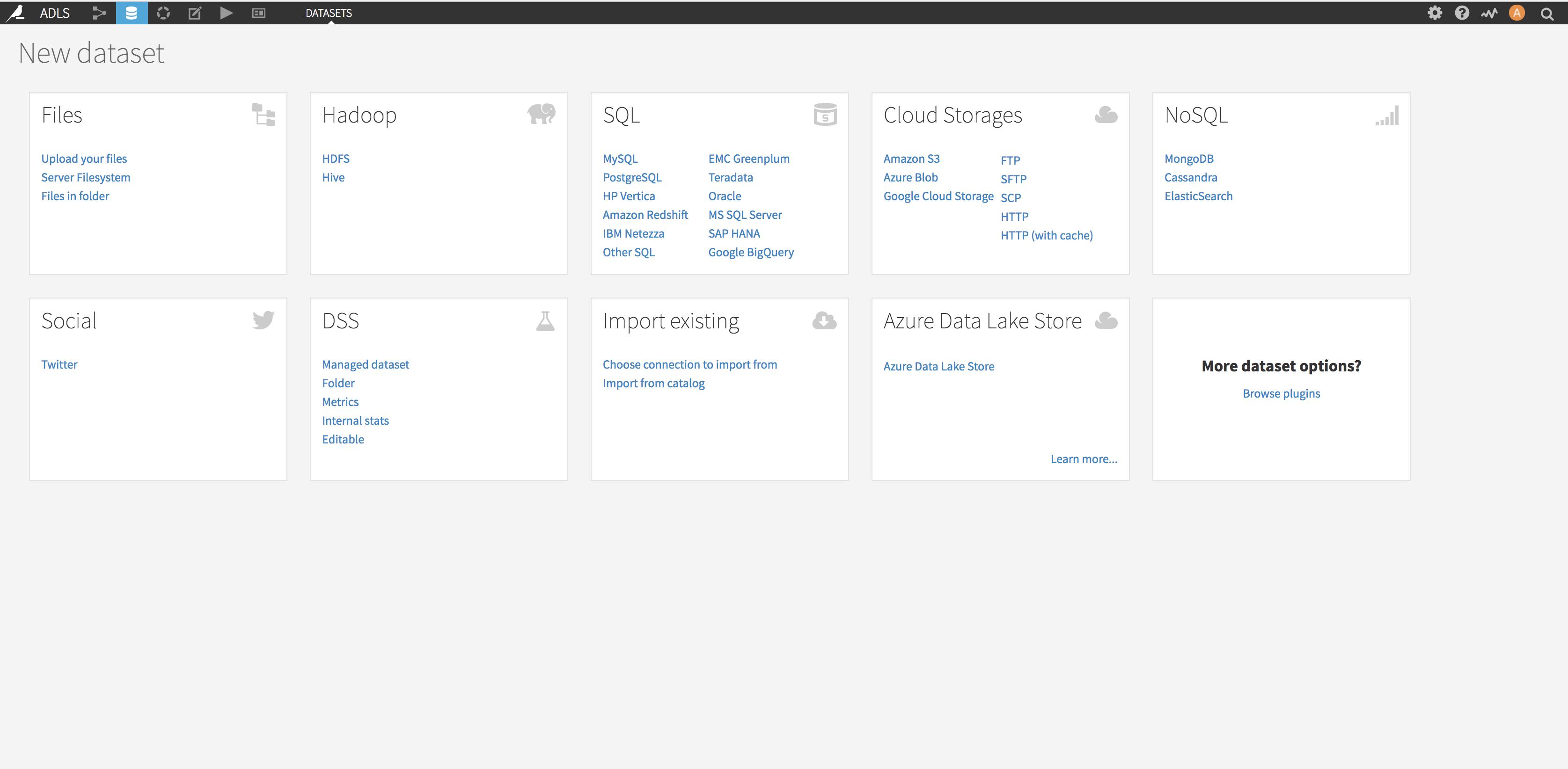 Create a new ADLS Dataset
