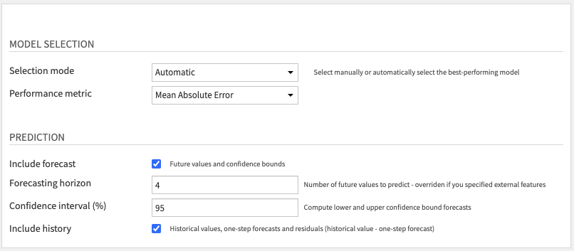 Forecast future values and get historical residuals Recipe Settings