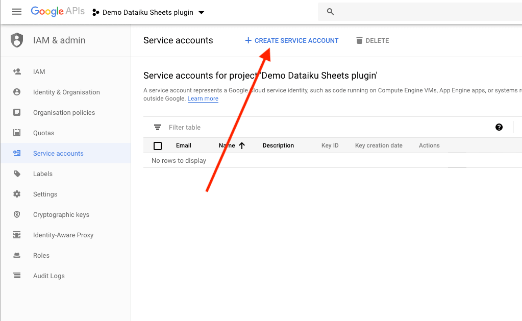Create Service Accounts using Google APIs