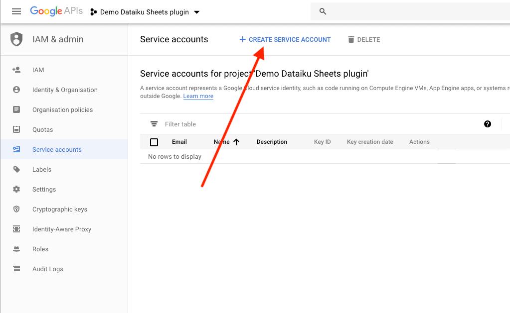 Create Service Accounts using Google APIs