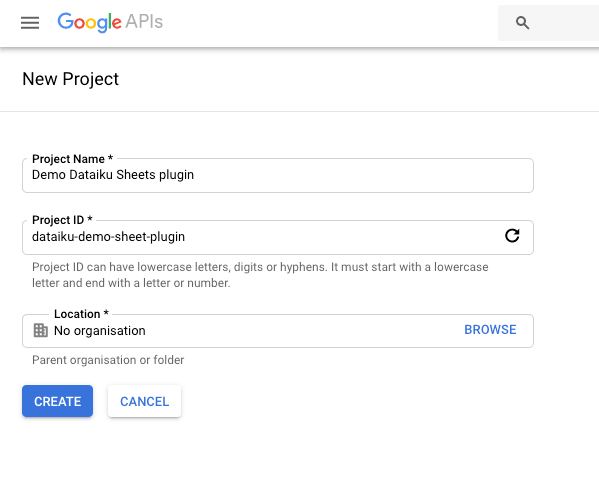 Create a new project (or select an existing one) using Google API