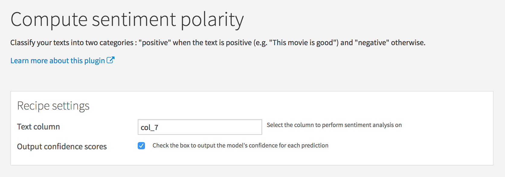 Estimate the sentiments from your data directly into DSS