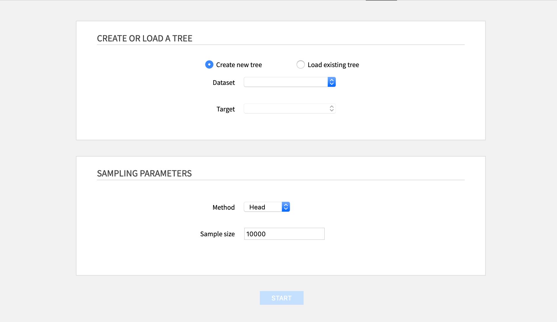 Create or load a tree