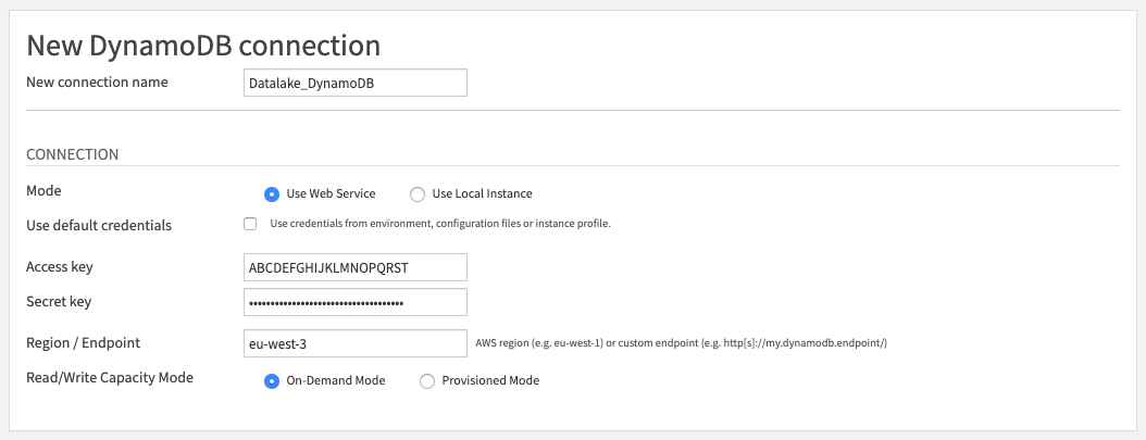 Configuration screen for a new DynamoDB connection
