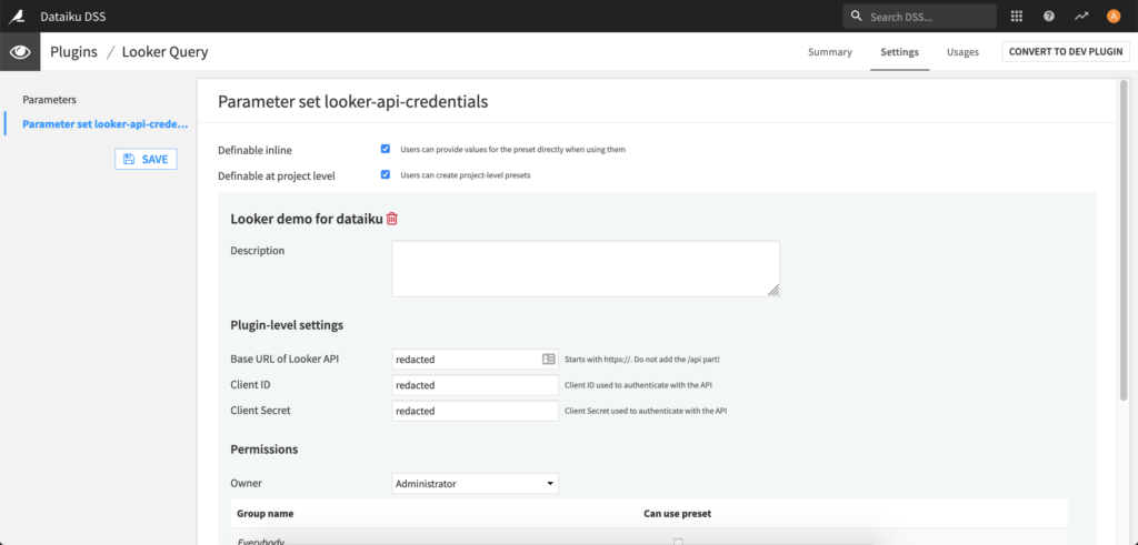 Settings of the looker query plugin