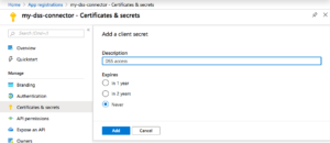 Microsoft Azure Portal screenshot showing the client secret add form