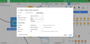 Dataiku DSS screenshot showing regular dataset export