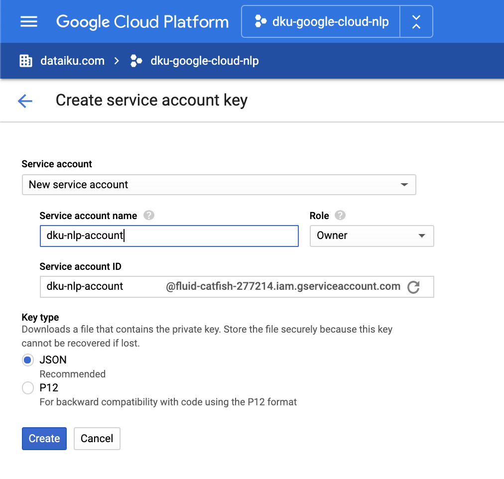 Service Account Key Creation