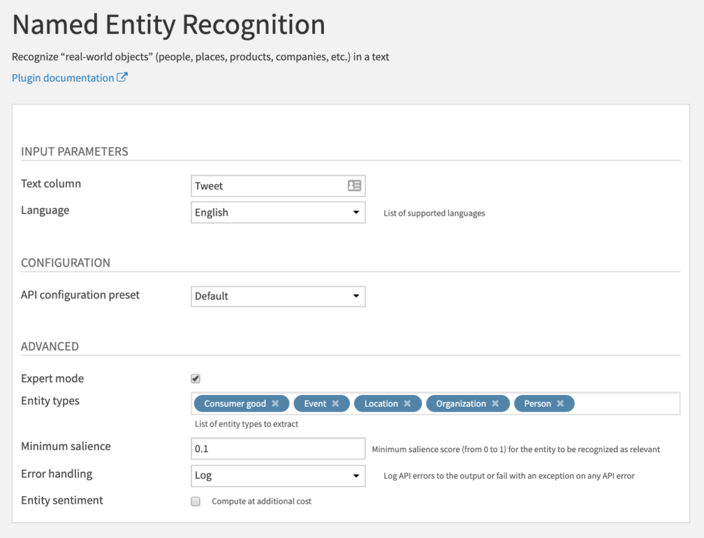 Named Entity Recognition Recipe