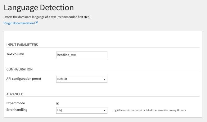 Language Detection Recipe