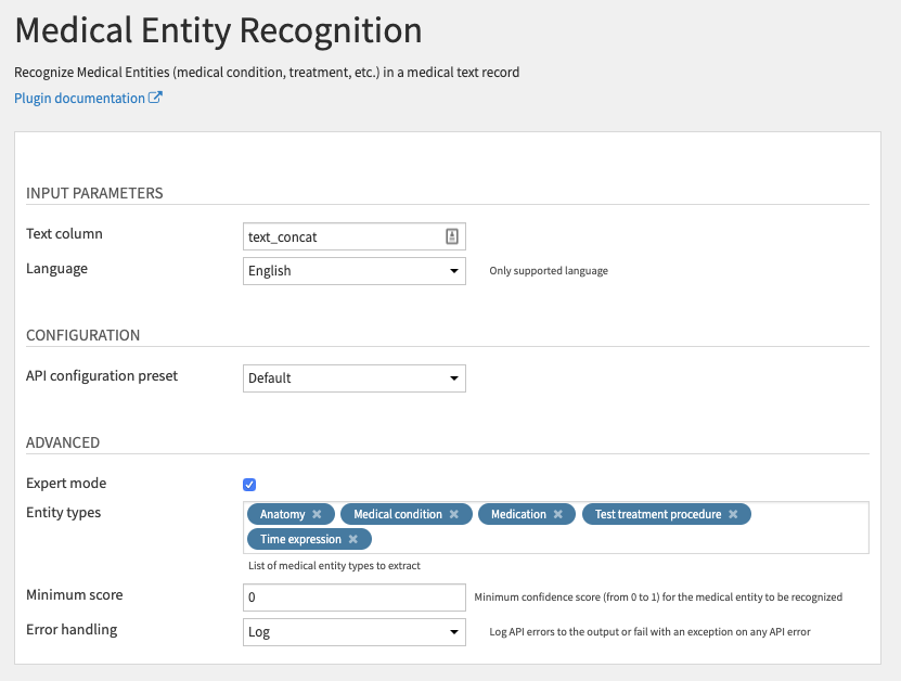 Medical Entity Recognition Recipe