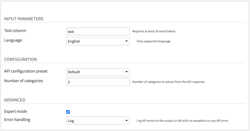 Text Classification Recipe Settings