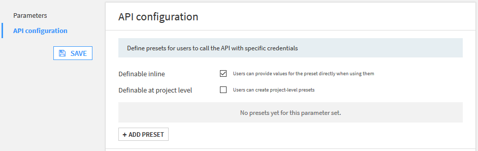 API Configuration Preset Creation