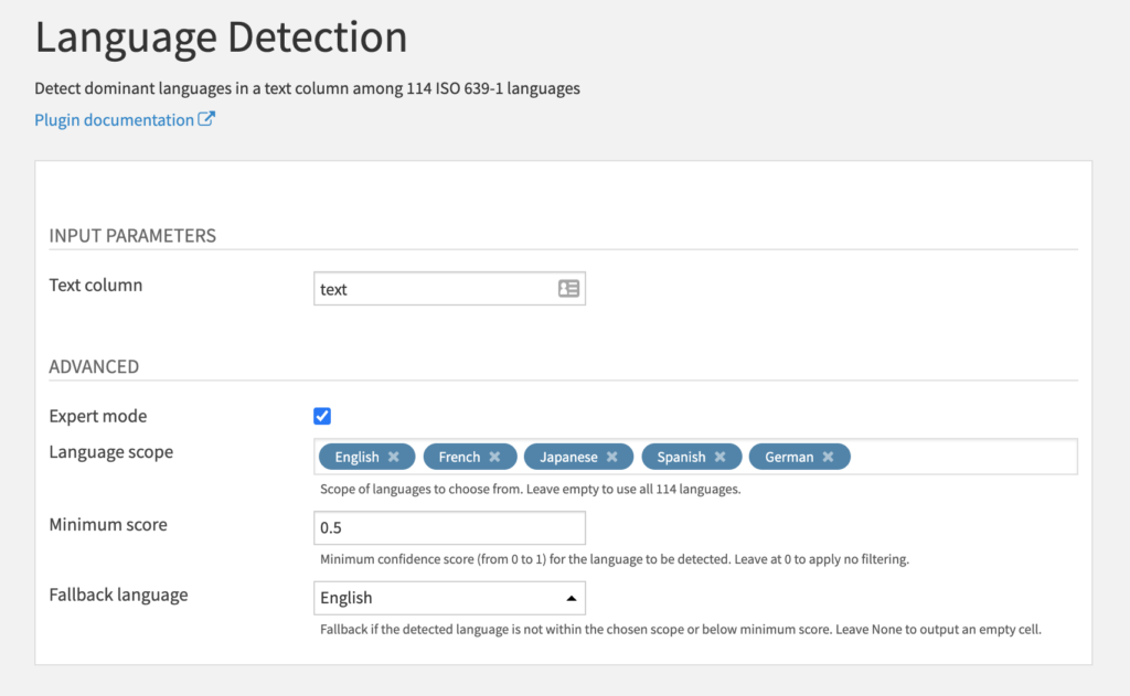 Language Detection Recipe Settings