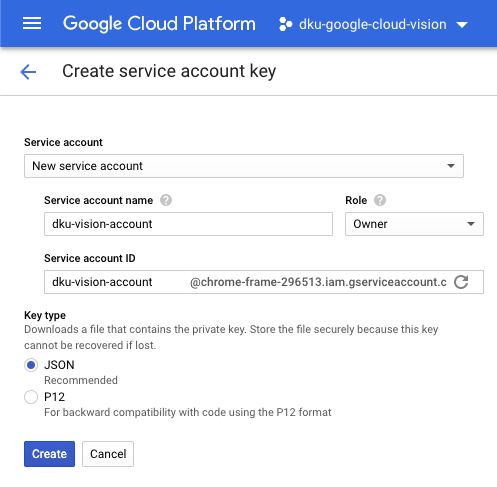 Service Account Key Creation