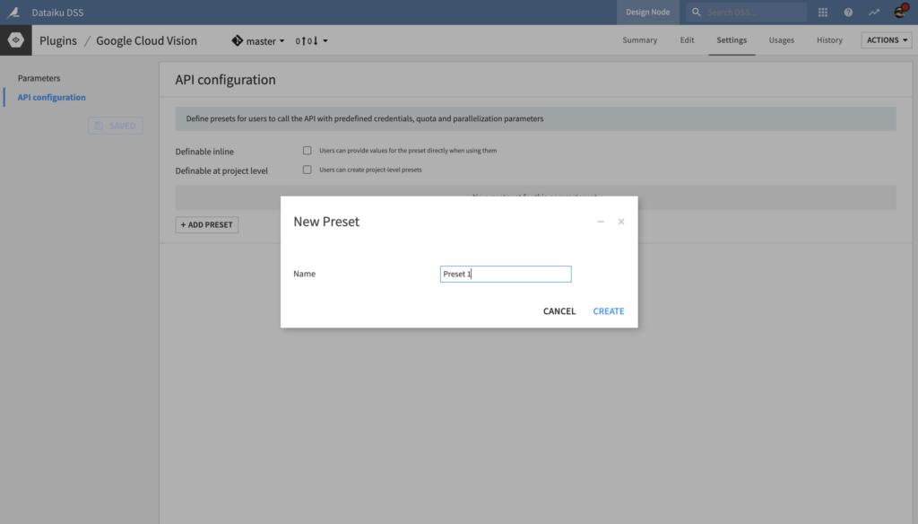 API Configuration Preset Creation