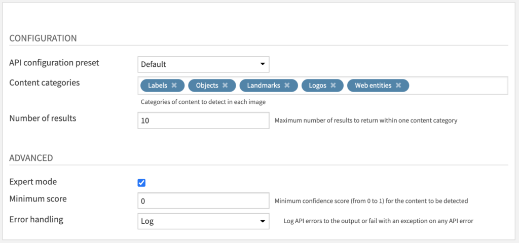 Content Detection & Labeling Recipe Settings