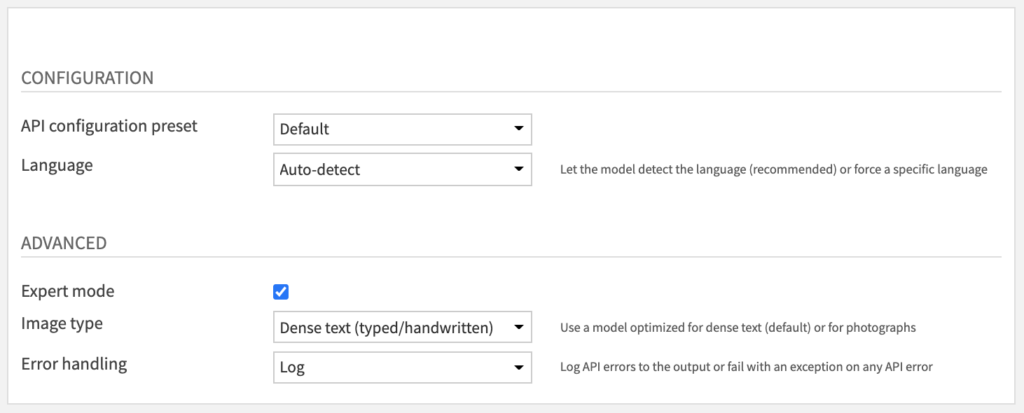Text detection for images - Recipe Settings