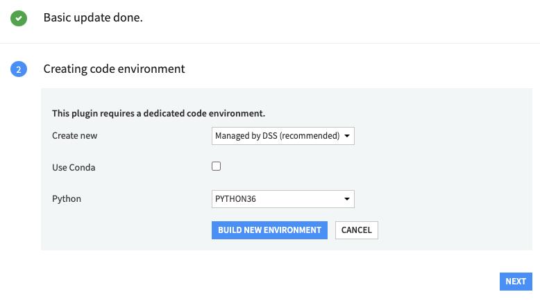 Code environment creation