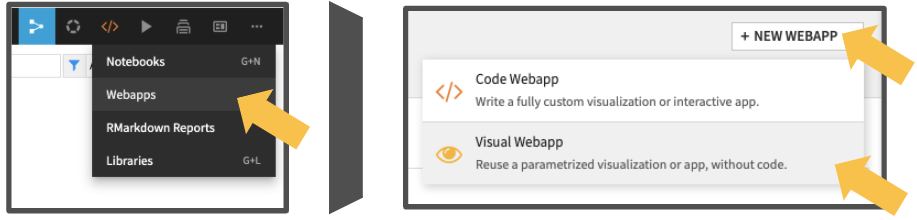 Visual web app creation